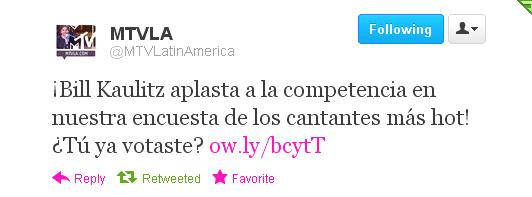Twitter @MTVLatinAmerica: Bill Kaulitz écrase ses concurrents au sondage d'MTV