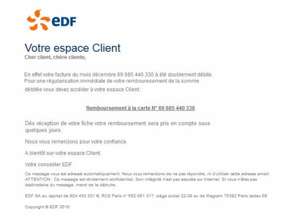 Attention Arnaque EDF
