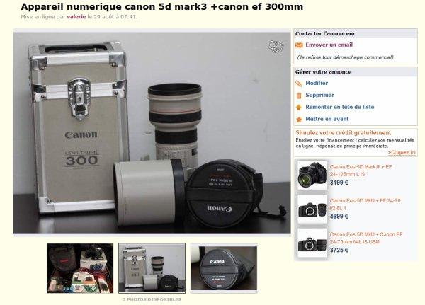 Attention sur le Bon Coin les bonnes occaz d'appareils photo Canon sont  souvent des arnaques