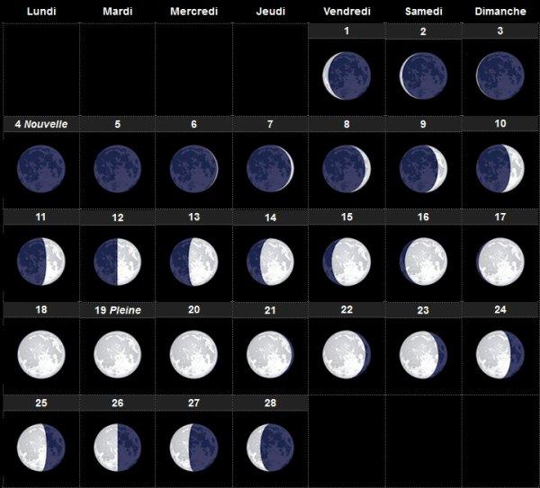 Calendrier lunaire février 2019