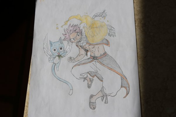 Dessin de Nastu et Happy de Fairy Tail
