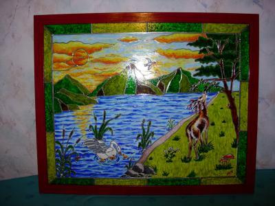 D mes differents tableaux vitrail marie for Faux vitrail sur miroir