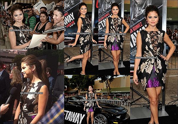 26.08.2013 : Notre chère Selena était à Hollywood pour l'avant première de son prochain film The Getaway. Elle est accompagnée d'un certain Ethan Hawke, qui n'est autre que son coéquipier du film. Un magnifique top pour sa tenue et son make-up