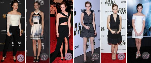 Emma Watson's Look : Voici un nouvel article regroupant les plus beaux look d'Emma de 2019 à 2013. Quelle(s) tenue(s) préférez-vous ? Celle(s) que vous aimez le moins ? Aimez-vous Emma ? Mes préférées : 1, 5, 10, 12, 14, 17, 19.