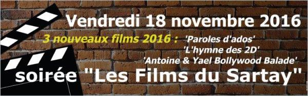 Soirée 'LES FILMS DU SARTAY' - 18 novembre 2016