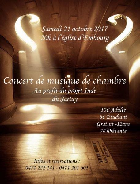 2me concert de musique de chambre organisé par le Projet Inde du Sartay : amis mélomanes, venez réjouir vos oreilles avec nous, le samedi 21 octobre 2017...