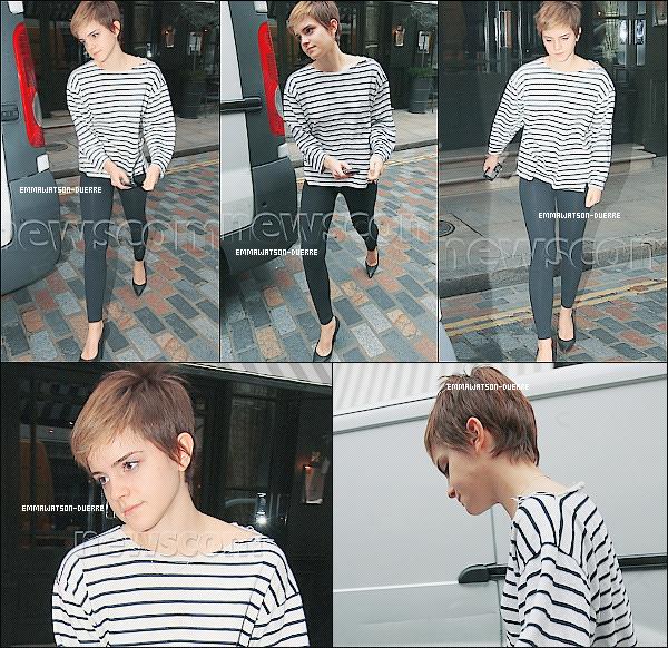 . 22 Février 2011 : Emma sortant d'un hôtel à Londres. Coup de ♥ pour sa tenue marinière. & toi ?_