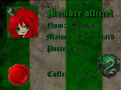 Carte de membre du club crée par moi (Hogwarts)