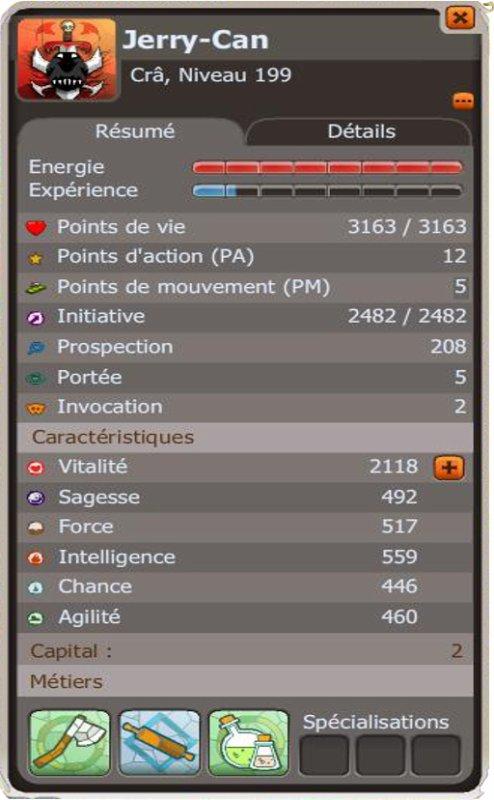 Voici les stats de mon Crâ 199 !