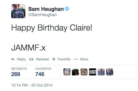 • • • Sam souhaite un bon anniversaire à sa partenaire dans la série Outlander sur Twitter • • • 20 Octobre 2014