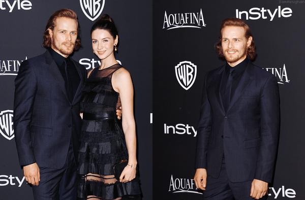 • • • Sam était présent à l'after party des Golden Globe avec sa partenaire de Outlander Caitriona Balfe• • • 11 Janvier 2015