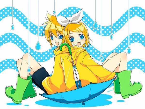 Rin et Len Kagamine sous (on va dire) la pluie