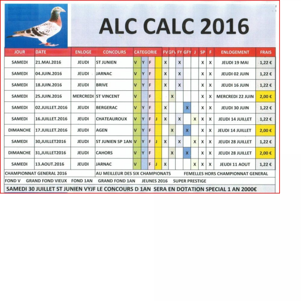 PROGRAMME ALC CALC 2016