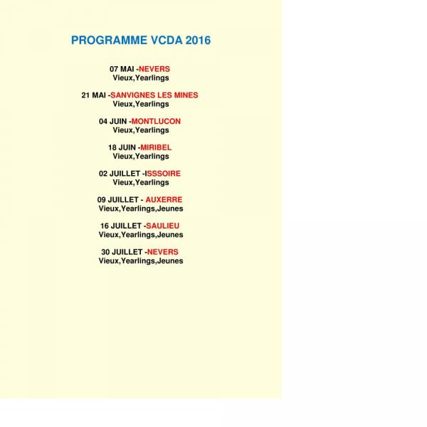PROGRAMME V.C.D.A 2016