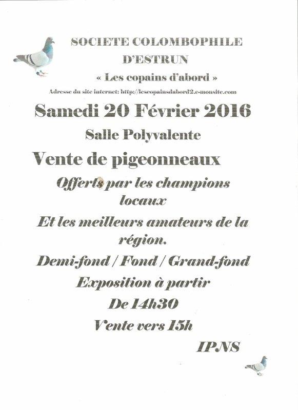 VENTE DE PIGEONNEAUX DE LA STE COLOMBOPHILE D'ESTRUN DU 20 FEVRIER 2016