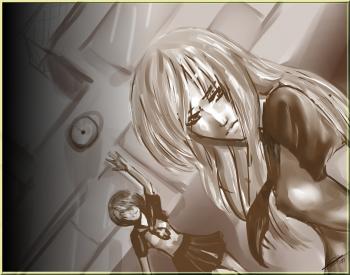 Parce que Mlle Miharu me menace de sorcellerie, voici un dessin dont je ne suis ABSOLUMENT pas fière... Mais bon, je n'arrive plus à dessiner, mais j'assume le peu de talent qu'il me reste  !