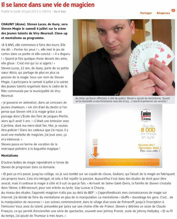 Article de l'union 24 Juin 2013