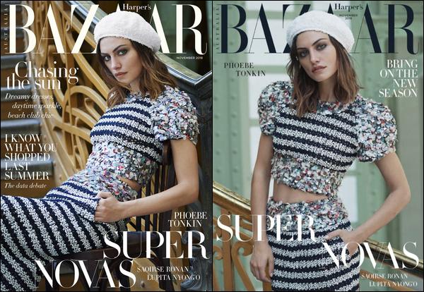 . .PHOTOSHOOT.─ Phoebe fait la couverture du numéro de novembre du magazine Harper's Bazaar Australia. .