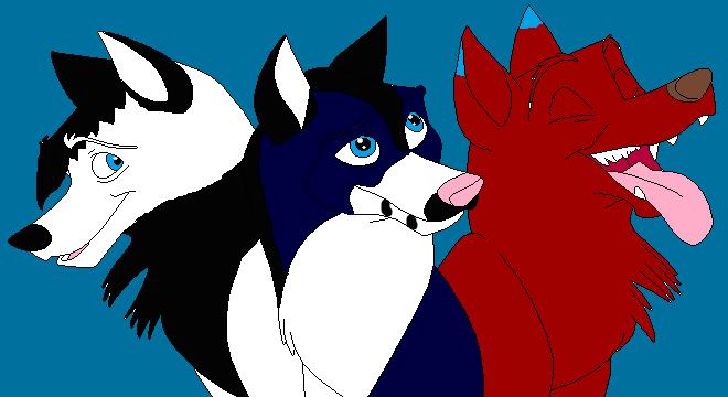 Three friends (Kohona, Nyméria et Roxas)