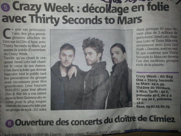 Qui dit Crazy Week ... dit Thirty Seconds to Mars ! *O*