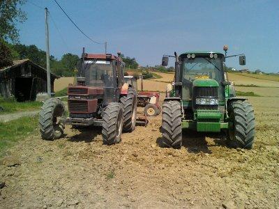 JOHN DEERE 6630 + charrue ts QUIVOGNE & CASE 1056 +herse LELY 3m & CASE 956 + herse LELY 3m