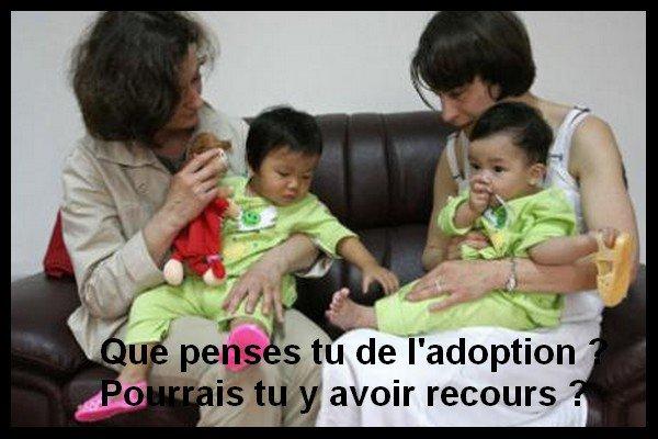Que penses tu de l'adoption ? Pourrais tu y avoir recours ?