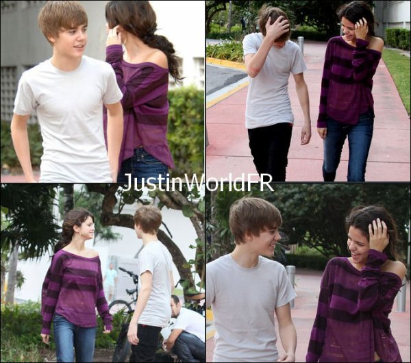 """Récemment, il y a eu beaucoup de rumeurs comme quoi Justin et Selena sont en """" couple """".   A votre avis ? le sont-ils? Justin et Selena sont très proche en se moment, il y a eu des interviews et ils ont demandés à Selena si elle était en couple avec Justin? Celle-ci répondit ' non, Justin et moi, nous sommes simplement des amies"""". Voici quelque photos de Justin et Selena a Miami :)"""