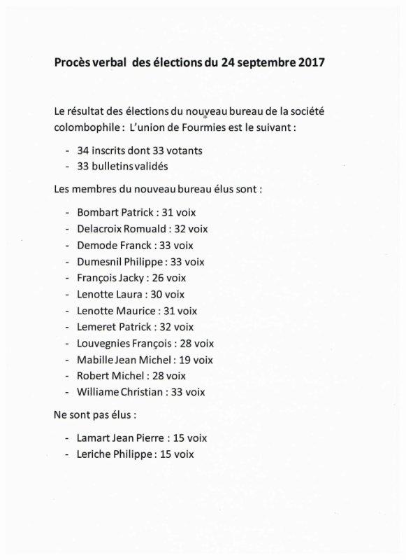 Procés verbal des élections du 24 septembre 2017