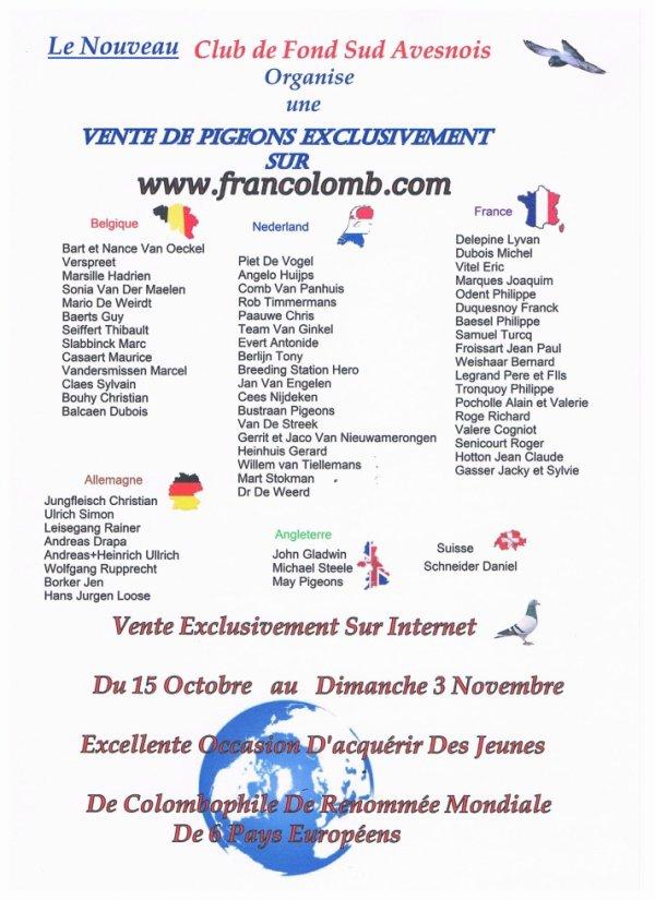 Vente sur Francolomb a partir du 15 octobre