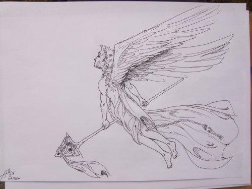 un ange de justice s'élance de ses alies bleues au-devant d'un monde dévasté