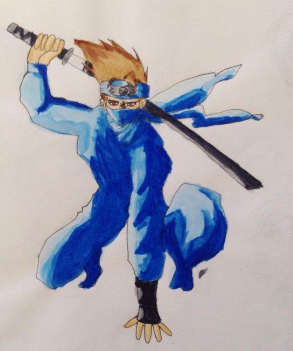 Ninja en aquarelle