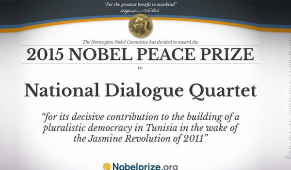 Tunisie : Le Prix Nobel de la paix 2015 attribué au quartet du dialogue national tunisien