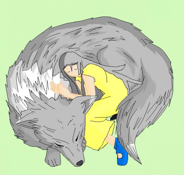 Ulphie et Ulphe en loup et endormie