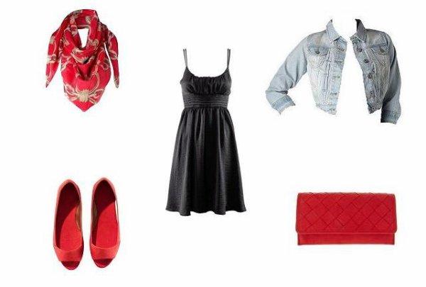 Robe noir accessoire rouge