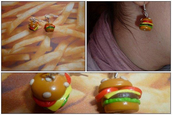 Boucle d'oreille Hamburger