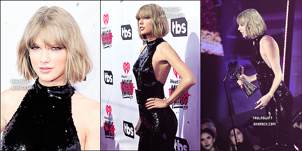 """Taylor était cérémonie des """"iHeartRadio Music Awards"""" qui avait lieu à Los Angeles. Elle a remporter 4 prix: """"Meilleure tournée"""", """"Meilleure artiste féminine"""", """"Album de l'année avec 1989"""", ainsi que """"Meilleur moment mémorable"""" (dans sa chanson BlankSpace où elle joue la fille hystérique etque son mascara coule). Pour chaque prix elle a fait un discour et elle a remercier """"ses copines et les femmes de sa vie"""" pour l'avoir toujours  encouragé à se tourner vers la pop et elle a adressé un petit message à son petit copain Calvin Harris elle a déclaré : """"Pour la première fois, j'avais la meilleure personne pour qui rentrer à la maison, quand les foules étaient parties et que les projecteurs étaient éteints, donc j'aimerais remercier mon petit ami Calvin pour ça.""""Et elle n'a pas oublier à remercier ses fanspour leurs soutien et amour."""
