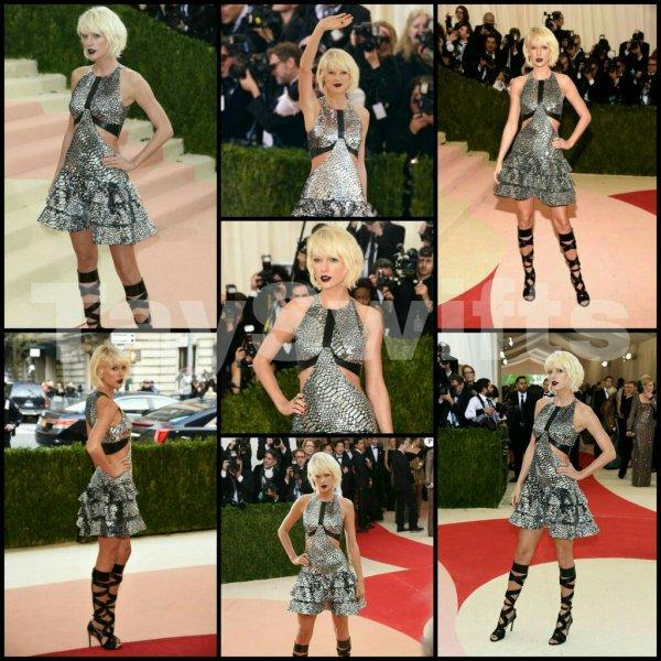 Le lundi 02 Mai, Taylor s'est rendue au Met Gala à New York. Cette année, le thème était Manus x Machina: Fashion in an Age of Technology. Taylor portait une robe et des chaussures signées Louis Vuitton. Moi j'adore! Et vous?  Et comme vous pouvez le constaté elle a changer de  coupe de cheveux moi j'aime bien et vous qu'en pensez vous?