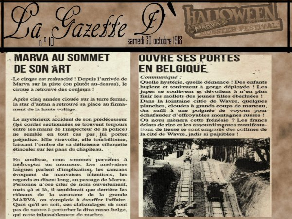 La Gazette d'halloween Marva Monsters festival (Partie 2)