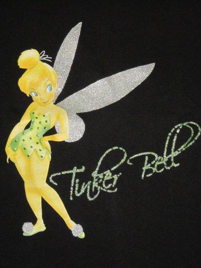 T-shirt femme noir manches courtes Tinker Bell Disney