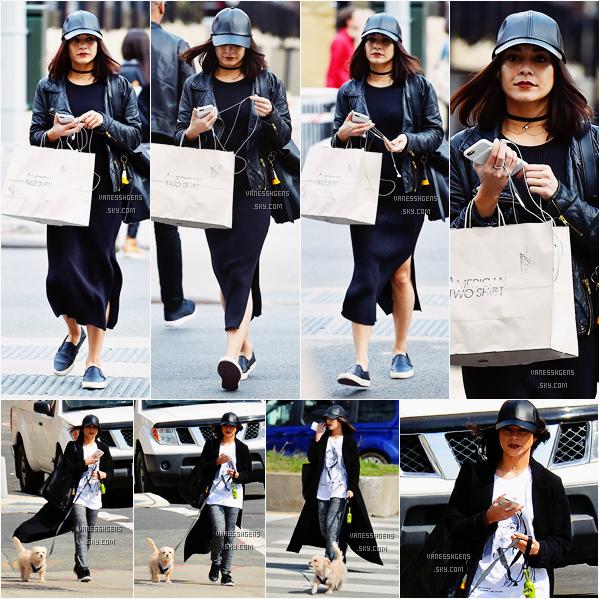 23/03/16 : Miss Hudgens faisait du shopping à American Two Shot à Manhattan, NYC. Un peu plus tard elle a été vue promenant son chien, Darla. Ses tenues sont pas mal mais pas top top non plus.
