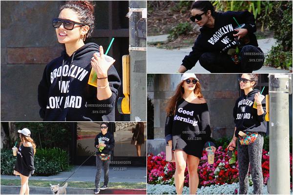 07/05/16 : Vanessa et Stella, boisson en main, promenait leur chien dans Los Angeles.