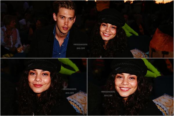 """04/06/16 : Vanessa Hudgens et Austin étaient au Cinespia presents summer screaning of """"Mean Girls"""" à Hollywood. On ne voit pas bien sa tenue, je ne peux donc rien en dire d'exceptionnel, par contre je n'aime pas du tout son chapeau."""