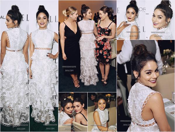 24/10/16 : Vaness était avec Lucy Hale et Ash Benson à la 23ème soirée d'ELLE Women, Hollywood. Encore beau top pour VH, un mise en beauté juste parfaite, avec une robe sublime et en plus elle a le sourire, que du bon!