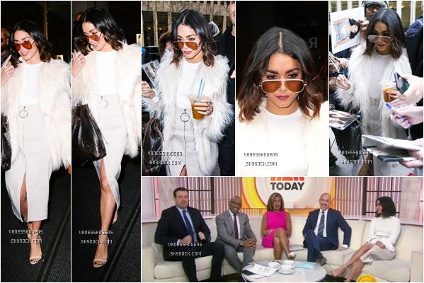 """30/01/17 : Vanessa H s'est rendue à l'émission """"The Today Show"""", New-York City. La belle V est à NYC pour quelques jours, elle fait la promo de sa série Powerless, un beau top, j'adore sa fourrure."""