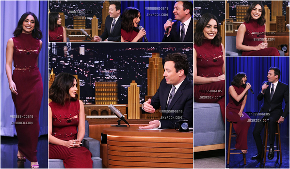 "30/01/17 : Elle a été sur le plateau de l'émission ""The Tonight Show with Jimmy Fallon"", New-York City.  Dernier meeting de la journée pour Vanessa, belle fin, encore un gros top, sa robe rouge est magnifique, j'aime beaucoup."