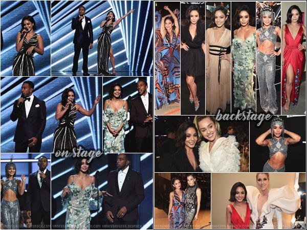 - 21/05/17 - Billboard Music Awards, Las Vegas :-  Vanessa  était sur le red carpet, ou plutôt pink, en compagnie de Ludacris, pour présenté la cérémonie. Et le moins que l'on puisse dire, c'est qu'il y en avait de la stars lors de cet incroyable événement, on la voit notamment posée avec Céline Dion et Miley Cyrus. Il y a pas mal de photos, j'ai fais un tri et j'ai mis des photos sur scène (on stage), mais aussi en coulisse (backstage). Vanessa a changer 7 fois de tenues! Rien que ça! Sans compter sa sublime robe rose. Ma préféré est la tenue rouge et la noir n'est pas mal. Qu'en pensez-vous? -
