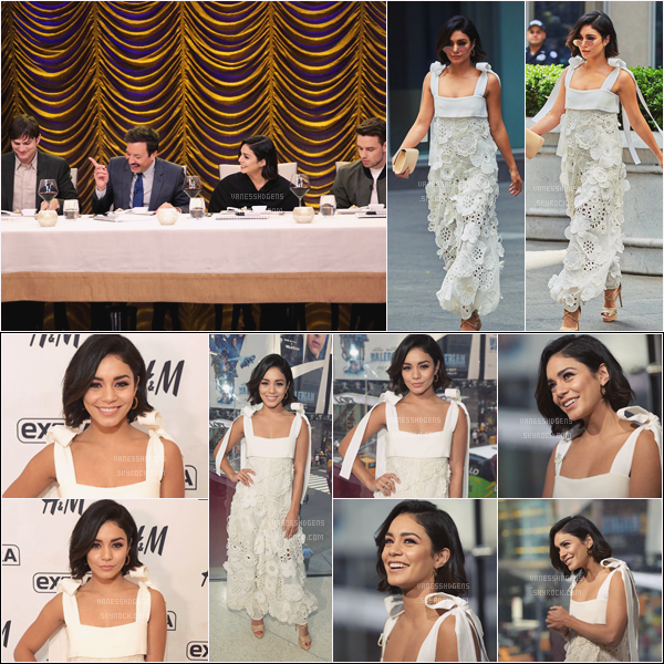 "- 21/06/17 : V était à ""The Tonight Show Starring Jimmy Fallon"", elle a été vue partant des studios, NYC (NY). Plus tôt dans la journée, elle était au studios Extra d'H&M à Times Square. La robe est plutôt pas mal, c'est fleurit et super jolie. -"