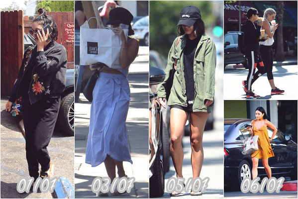 "- Je vous fais un rétrospectif bref des apparitions de Vanessa durant mon absence. 01/07/17 -> Elle était à Aroma Coffee & tea dans Studio City. 03/07/17 -> Elle faisait du shopping à ""Joan on Third"", Studio City. 05/07/17 -> Vaness est aller à Wundabar Pilatesdans Studio City. 06/07/17 -> Elle s'est rendue à Training Mate, ""Alfred Coffee & Kitchen, puis elle a été se faire une beauté, Studio City. 15/07/17 -> Elle est aller faire du shopping à Ralph's, Studio City. 17/07/17 -> Séance de sport à Wundabar Pilates et café chez ""Alfred Coffee & Kitchen"", Studio City. 18/07/17 -> Elle était à l'événement ""Launch of Mattel's Enchantimals Dolls, Los Angeles. 19/07/17 -> Séance de sport à Wundabar Pilates et café chez ""Alfred Coffee & Kitchen"", Studio City. -"
