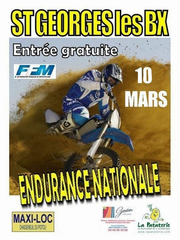 RDV CE DIMANCHE 10 MARS: ENDURANCE TT A ST GEORGES DES BAILARGEAUX (86)
