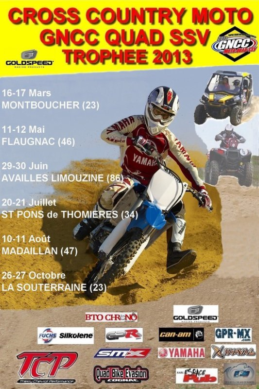 RDV CE WEEK END, DIMANCHE 17 MARS, POUR L'OUVERTURE DU FRANCE GNCC MOTO (CROSSCOUNTRY), A MONTBOUCHER (23).
